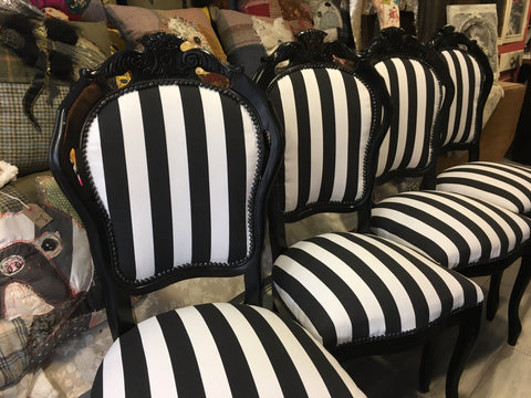 Black and White Stripe Rococo Dining Chairs
