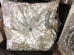 Crystal Button Premium Crushed Velvet Cushion