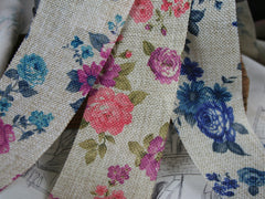 Floral Faux Hessian Ribbon