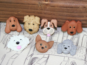 Fuzzy Faces Dog Buttons