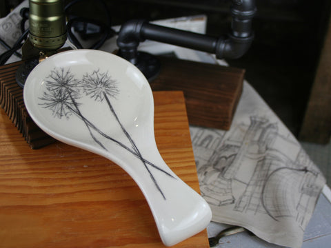 Hand Drawn Dandelion Stems Spoon Rest