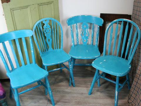 Set of Four Distressed Chairs