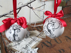 Hand Drawn Ceramic Bauble - Ornate Initial