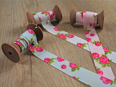 Vintage Rose Print Grosgrain Ribbon | 16mm | By the metre