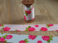 Vintage Rose Print Grosgrain Ribbon | 25mm | By the metre