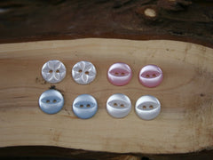 Fisheye baby buttons. Available in 3 colours from Elliemagpie.