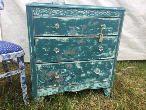Decoupage 3 Drawer Chest of Drawers