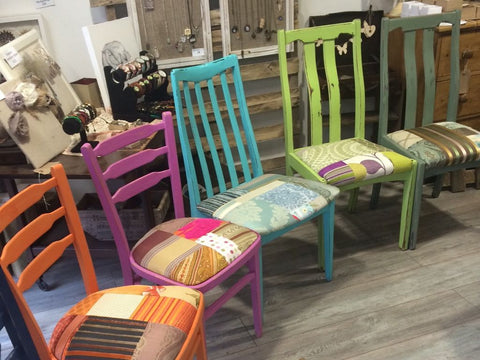 Bright Painted Colourful Patchwork Chairs