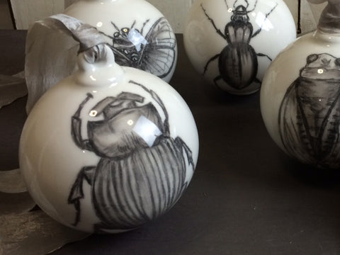 Hand Drawn Dung Beetle Ceramic Bauble Decoration