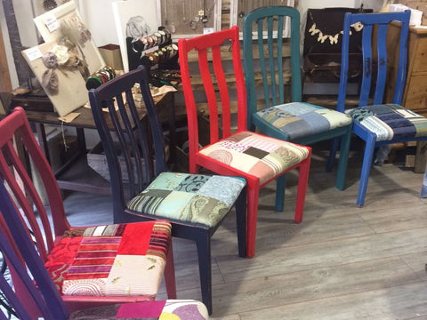 Bright Painted Patchwork Chairs