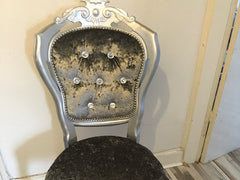 Crystal Buttons Rococo Dining Chairs