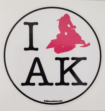 I Snowmachine AK Pink - Sticker