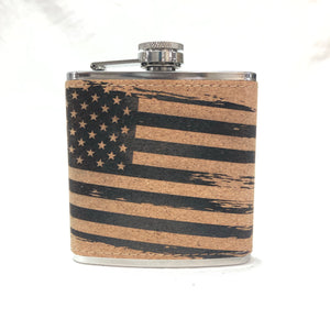 Grunge Flag - 6oz Cork Flask