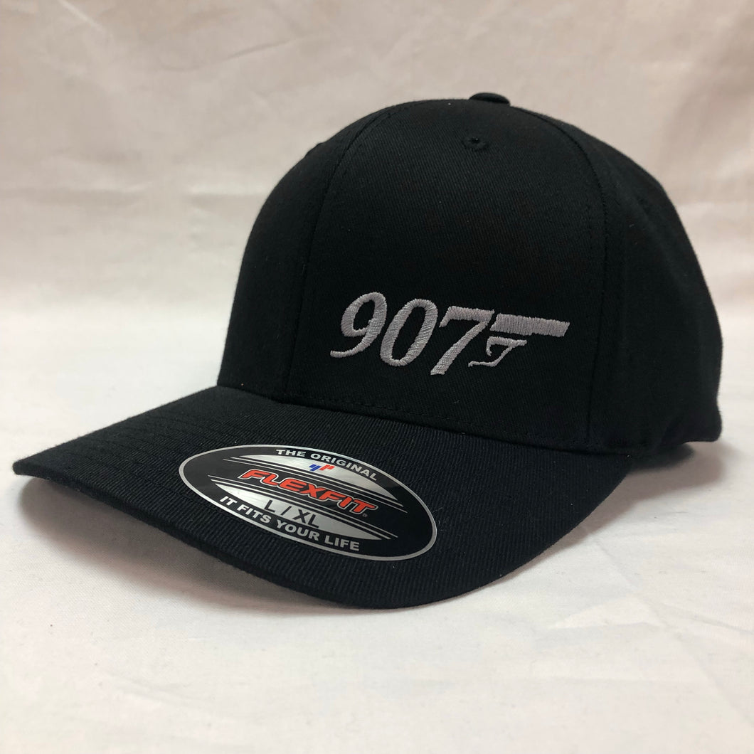 907 Gun (Small Logo) - Flex Fit Hat - Solid Back