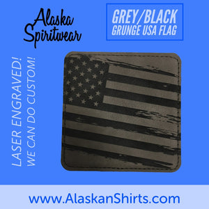 Grunge Flag - Leather Coaster - Single
