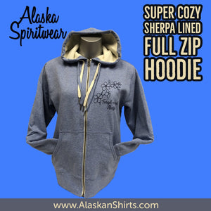 Forget-Me-Not - Sherpa Lined - Full Zip Hoodie