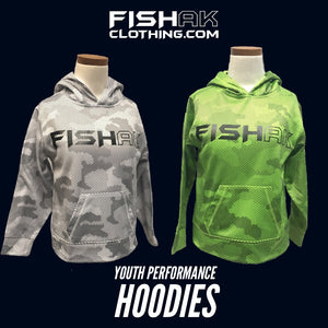 Fish AK - Hex Camo - Youth Performance Hoodie