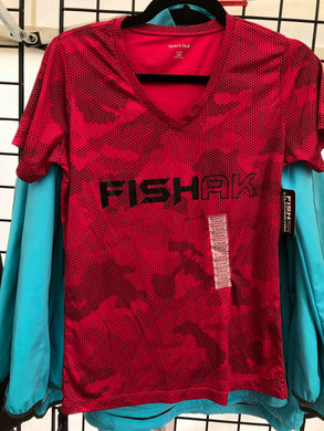 Fish AK - Performance V-Neck T-Shirt - Hex Camo - Ladies
