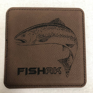 Fish AK - Rainbow Trout - Individual Coaster - Leather