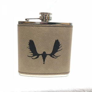 Moose Skull - 6oz Leather Flask