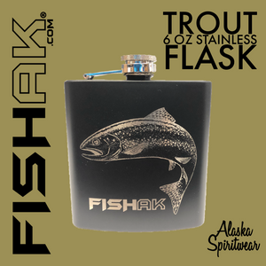 Fish AK - 6oz Stainless Flask - Rainbow Trout