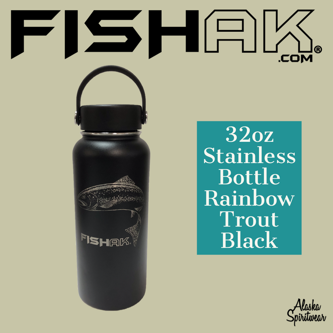 Fish AK - Rainbow Trout - 32oz Stainless Water Bottle