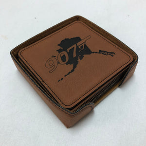 907 w/Alaska - Leather Coaster Set