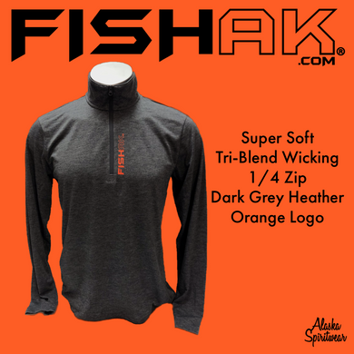 Fish AK - Tri-Blend Wicking 1/4 Zip