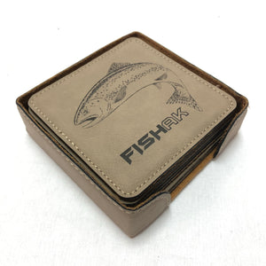 Fish AK - Rainbow Trout - Coaster Set - Leather