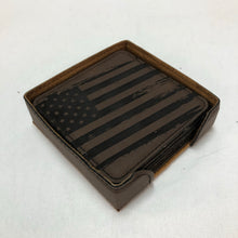 Load image into Gallery viewer, Grunge Flag - Leather Coaster - Set of 6