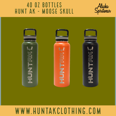 Hunt AK - Moose Skull - 40oz Stainless Water Bottle