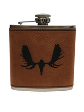 Load image into Gallery viewer, Moose Skull - 6oz Leather Flask