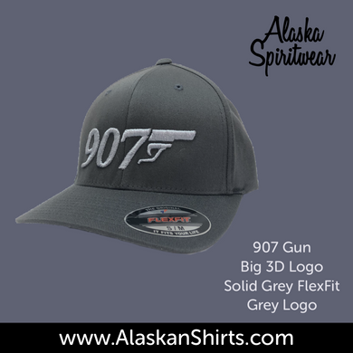 907 Gun 3D - Flex Fit Hat - Solid Back