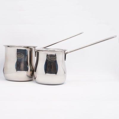 Stainless Steel Armenian Coffee Pot With U-Shaped Handle (Various Sizes)