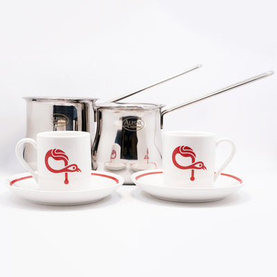 Signature ԳAVAT Coffee Cup & Saucer Set W/ Stainless Steel Coffee Pot