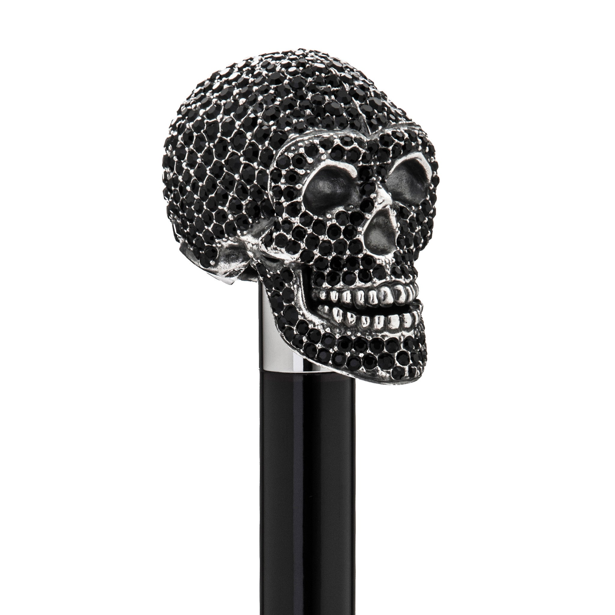 'Damien' Swarovski Skull Umbrella (Black)
