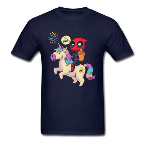 t-shirt deadpool licorne marine
