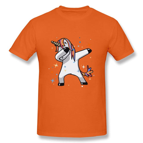 t shirt dab de licorne orange