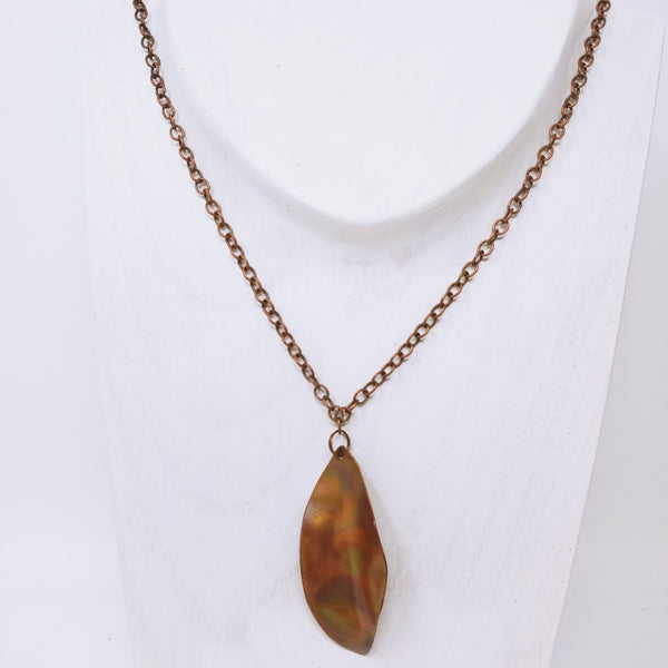Hand Cut Copper Leaf Necklace