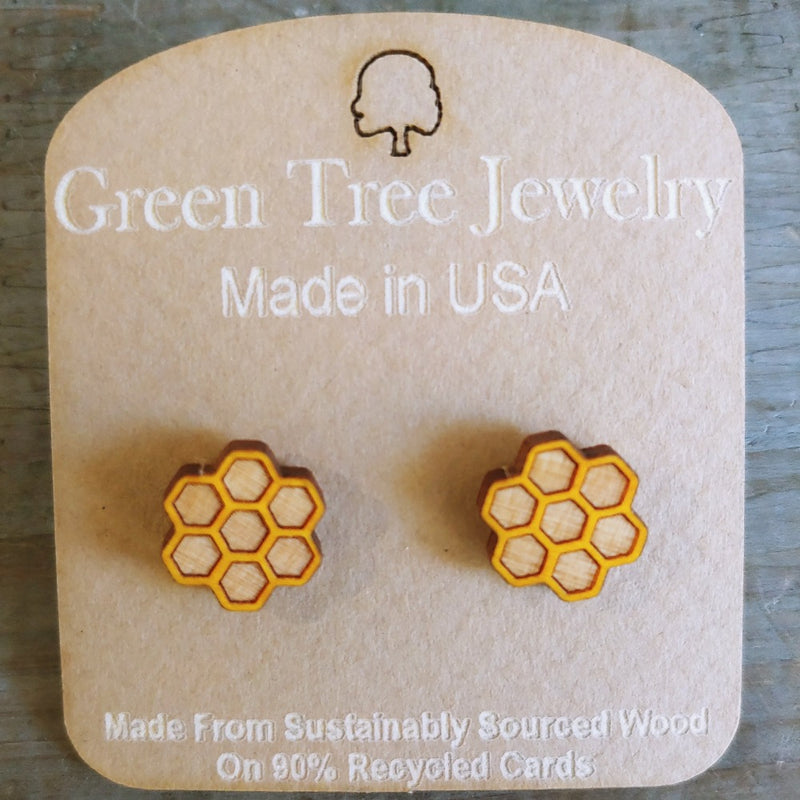Stud Wood Earrings