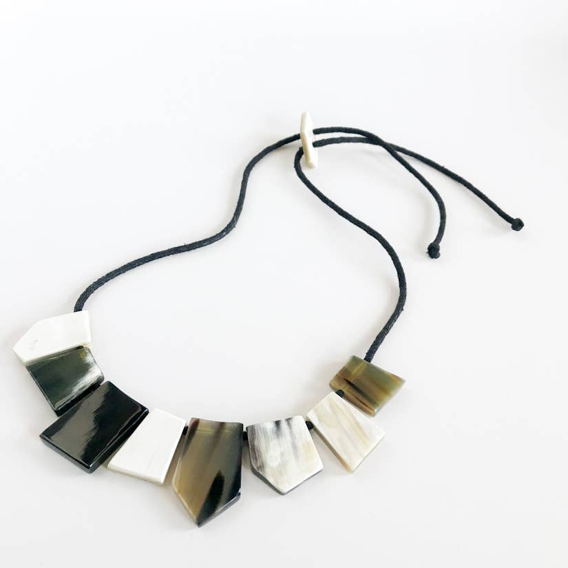 Up-Cycled 8 Piece Short Horn Trapezoid Necklace