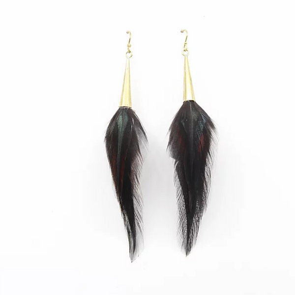 Black Feathered Brass Earrings