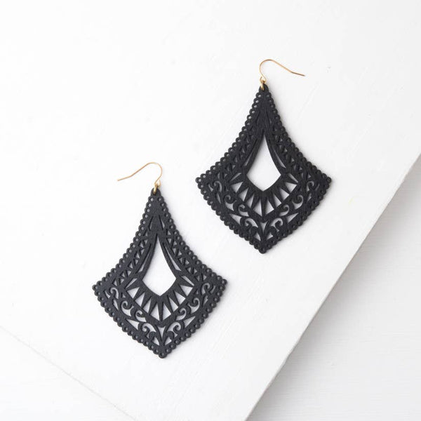 Bernadine Wood Dangle Earrings