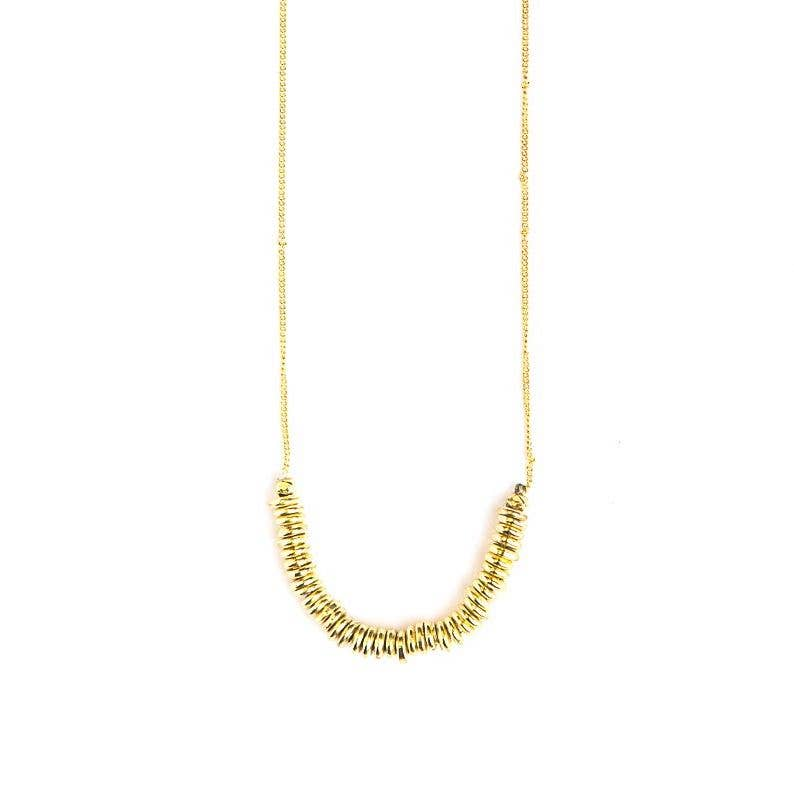 Delicate Disks Necklace - Brass