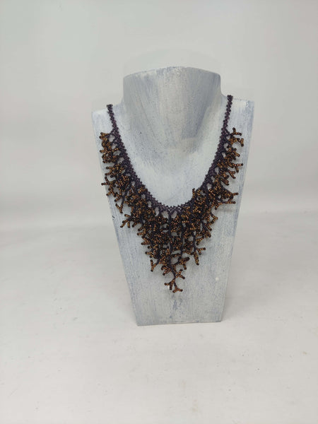 Glass Bead Coral Necklace