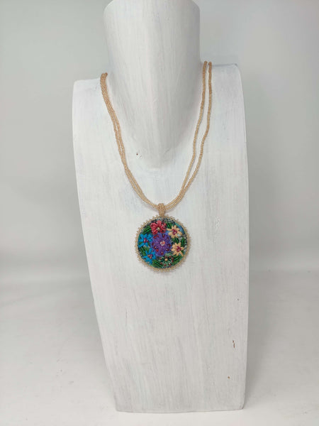 Corte Embroidered Flower Necklace