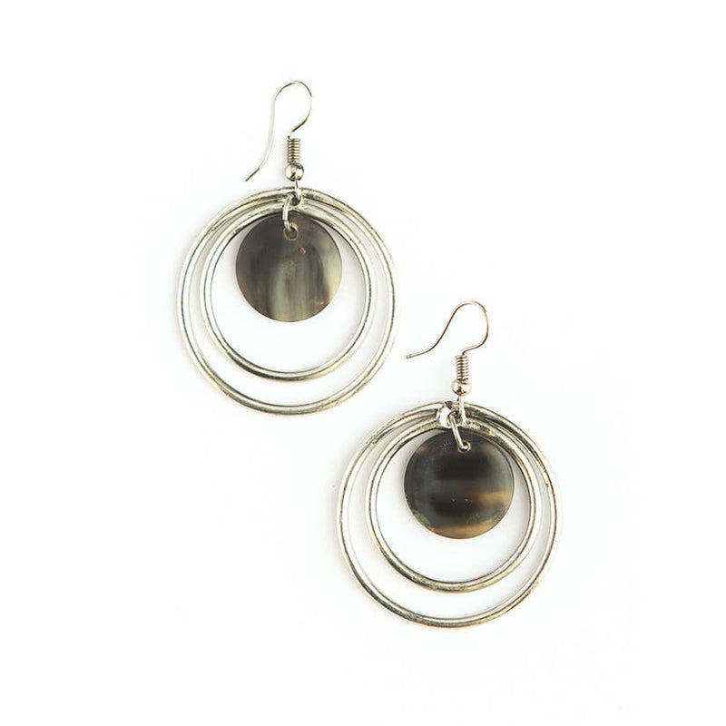Classic Circles Horn Earrings - Silver