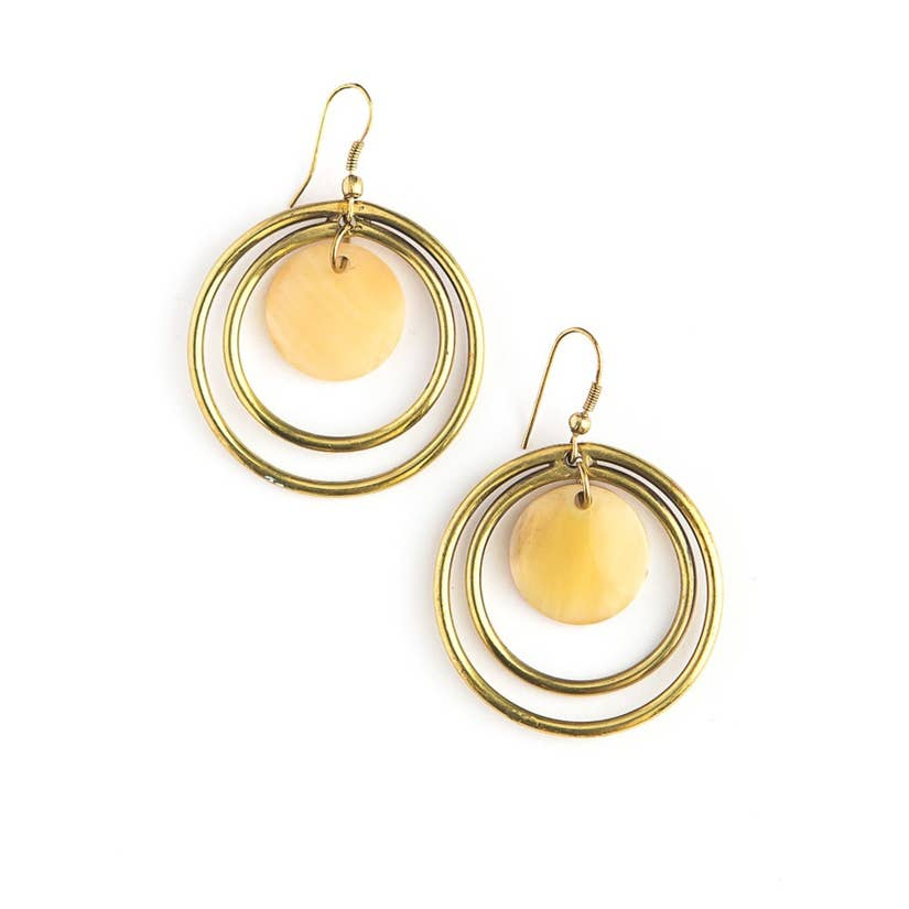 Classic Circles Horn Earrings - Brass