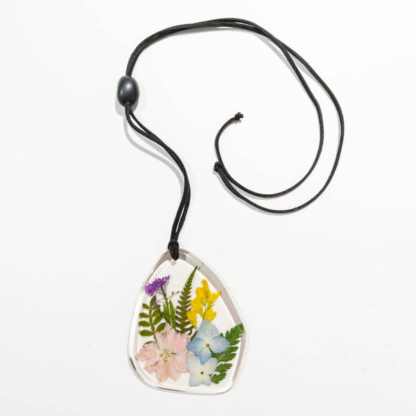 Botanical Mixed Flower Plaque Necklace