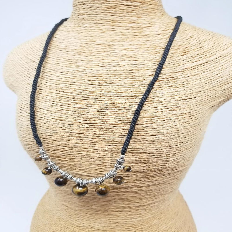 Tiger Eye Braided Cord Necklace
